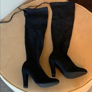 Suede over the knee tie back boots